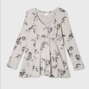 Long sleeve floral grey maternity shirt top